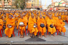 Monks wait the auspicious to walk to the public Royalty Free Stock Image