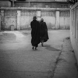 Monks Walking stock photos