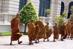 Monks in Wat Phra Kaew, Bangkok, Thailand, Asia Royalty Free Stock Images