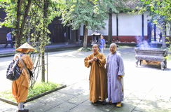 Monks in wensu temple, chengdu,china Royalty Free Stock Images