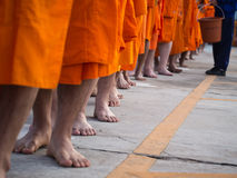 Monks were Walking Bare Feet Royalty Free Stock Images