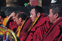 Monks are worshiping Vulcan Stock Photography