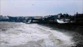 Monkstown - серовато-коричневый цвет Laoghaire шторм emma Графство Дублин Ирландия сток-видео
