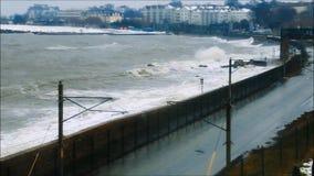 Monkstown - серовато-коричневый цвет Laoghaire шторм emma Графство Дублин Ирландия видеоматериал
