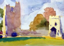 Monkstown castle dublin area. Irish castle ruined painted sketch Royalty Free Stock Image