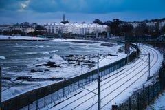 Monkstown - Dun Laoghaire. county Dublin. Ireland. Monkstown - Dun Laoghaire seafront covered with snow during storm Emma, Dun Laoghaire. county Dublin. Ireland Stock Image