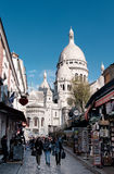 Monmartre hill. People walking down the street from Sacre Coer Royalty Free Stock Photos