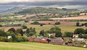 威尔士农村风景在Monmouthshire 免版税库存照片