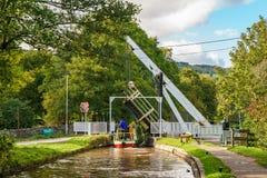 Monmouthshire & Brecon kanal, Talybont på Usk, Powys, Wales, UK Royaltyfria Bilder