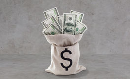 Monnaie fiduciaire du dollar dans le sac au-dessus du béton Images libres de droits