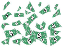 Monnaie fiduciaire en baisse d'argent liquide Image stock