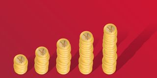 Business concept in Yuan, with stacks of coins showing increased profits. vector illustration