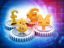Monnaies internationales et vitesses Photo stock