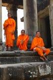 Monnik in Angkor Wat Stock Afbeeldingen