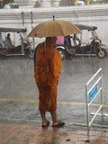 Monnik op een regenachtige dag Royalty-vrije Stock Foto's