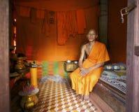 Monnik thuis in Kambodja Royalty-vrije Stock Foto