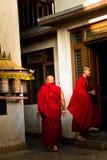 Monniken van de Tibetaanse Tempel van Drubgon Jangchup Choeling, Katmandu, Ne Royalty-vrije Stock Foto's