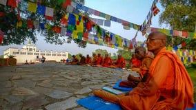 Monniken van Lumbini, Nepal stock foto