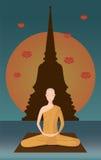 Monniksmeditatie voor pagode Stock Foto's