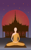 Monniksmeditatie voor tempel Royalty-vrije Stock Afbeelding