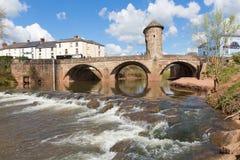Monnow桥梁蒙茅斯威尔士英国历史的旅游胜地Y形支架谷 库存图片