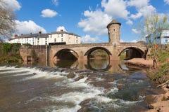 Monnow蒙茅斯桥梁威尔士英国历史的旅游胜地Y形支架谷 库存照片