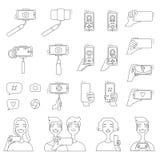 Mono линия изображения различных инструментов для фотографии собственной личности Иллюстрации концепции Selfie иллюстрация штока