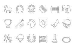Mono линия символы изолята конноспортивного спорта на белизне иллюстрация штока
