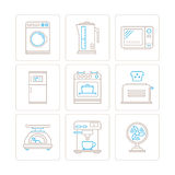 Комплект значков и концепций бытовых приборов вектора в mono тонкой линии стиле Стоковые Изображения RF