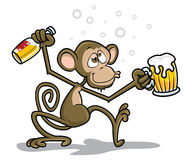 Mono borracho ilustración del vector
