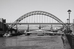 Mono Bridges. The numerous Bridges over the River Tyne between Gateshead and Newcastle, England Stock Image