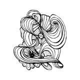Mono color black line art element for adult coloring book page design. Floral collection stock illustration