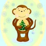 Mono con el árbol de Cristmas ilustración del vector