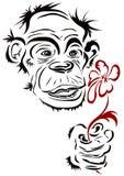 Mono con la flor Imagen de archivo