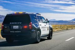 Mono County sheriffPolice bil fotografering för bildbyråer