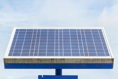 Mono crystalline silicon solar cells power outdoor lawn lamp ligh field stock photo