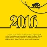 Mono de la Feliz Año Nuevo Fondo amarillo Imágenes de archivo libres de regalías