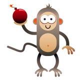 Mono de la historieta que sostiene la bomba Fotografía de archivo