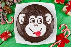 Mono de la torta de chocolate Fotografía de archivo