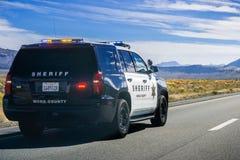 Mono de Sheriffpolitiewagen van de Provincie stock afbeelding