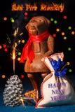 Mono del fuego rojo con la bengala Imágenes de archivo libres de regalías