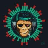 Mono del inconformista del fan de música en auricular Chimpancé de DJ stock de ilustración