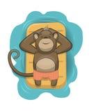 Mono del vector que se relaja en el colchón de aire Fotografía de archivo