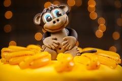 Mono divertido del witn de la torta Imagenes de archivo