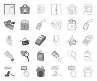mono E-kommers, köp och försäljning, översiktssymboler i den fastställda samlingen för design Reng?ringsduk f?r materiel f?r hand stock illustrationer