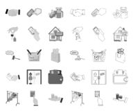 mono E-kommers och affär, översiktssymboler i den fastställda samlingen för design K?pa och s?lja reng?ringsduk f?r vektorsymbolm royaltyfri illustrationer
