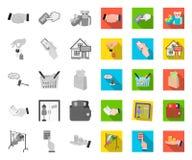 mono E-kommers och affär, plana symboler i den fastställda samlingen för design K?pa och s?lja reng?ringsduk f?r vektorsymbolmate vektor illustrationer