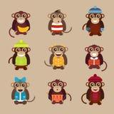 Mono feliz del vector de la historieta plano Fotos de archivo