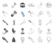 Mono frisersalong och utrustning, översiktssymboler i den fastställda samlingen för design Reng?ringsduk f?r materiel f?r frisyr- vektor illustrationer