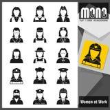 Mono icone - donne sul lavoro Icone monocromatiche piane Royalty Illustrazione gratis